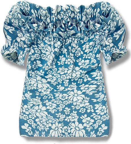 Off-Shoulder-Shirt blau 7112