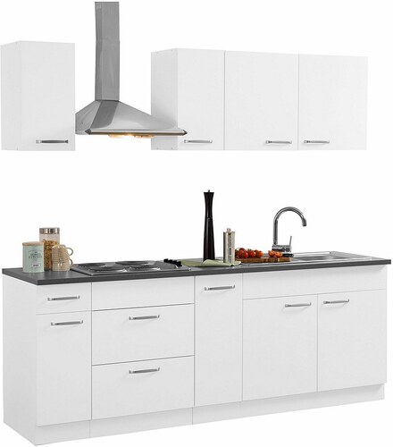Küchen Küchenzeile mit E-Geräten, »Basel« Breite 220 cm