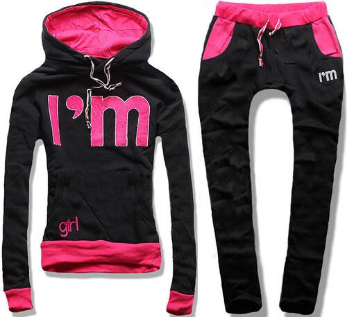 Traininganzug schwarz pink 12161