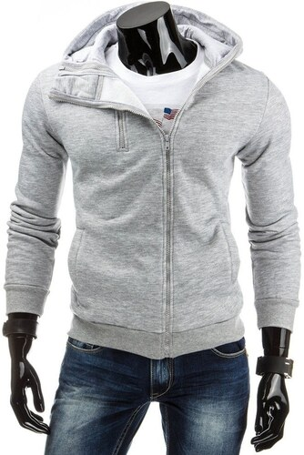 Pánská šedá mikina s dvojitým zipem a kapucí - Glami.cz 21087c758b