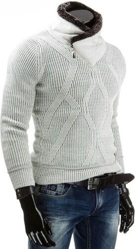 Bílý pánský zimní svetr s rolákem pro pány - Glami.cz 7a5743ac41
