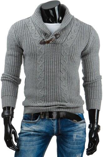 9615d1d57bba Pánsky šedý sveter do V s vysokým golierom - Glami.sk