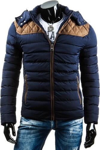 Prošívaná tmavě modrá pánská bunda na zimu - Glami.cz 3a8ed43d193