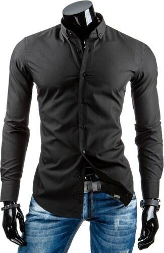 Luxusní černá pánská košile s dlouhým rukávem DSTREET - Glami.cz 997d00981a