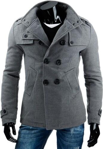Šedý pánsky kabát s gombíkmi - Glami.sk c3e1305a4a2