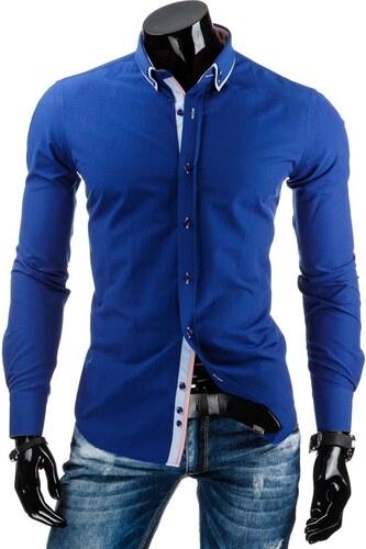 85fba5fd6235 Módna pánska modrá košeľa DSTREET s dvojitým golierom - Glami.sk