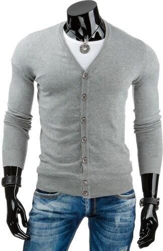 Elegantní tenký šedý svetr na knoflíky - Glami.cz 12a10d4693