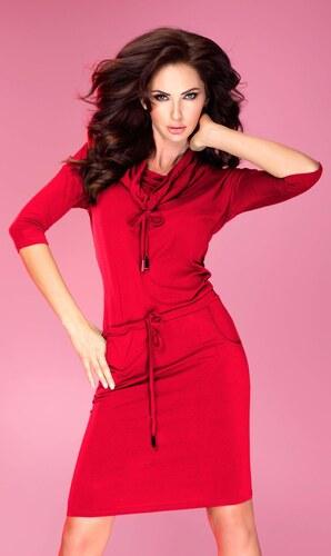 numoco Dámské sportovní šaty GOLF s tkanicemi a kapsami středně dlouhé  červené 72e5178b04