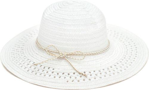b8e9fb88b7f Art of Polo Dámský bílý letní klobouk se zlatou mašlí cz16109.1 ...