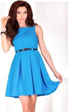 Dámské elegantní společenské šaty bez rukávu s páskem modré NUMOCO 6 ... 2014b5901b