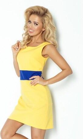 c55697dfab72 Dámské trendy šaty bez rukávu žluté s modrým pruhem NUMOCO 102-1 ...
