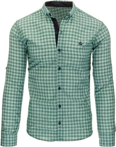 Zajímavá zelená kostkovaná pánská košile - Glami.cz 444e39071d