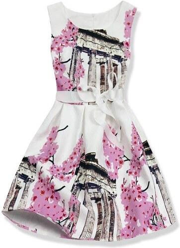 Kleid weiß pink 1078
