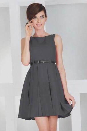 3bf6c9729fe1 Dámské elegantní společenské šaty bez rukávu s páskem tmavě šedé NUMOCO 6-15