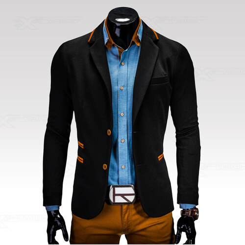 Ombre Clothing Pánské sako Franco černé - Glami.sk c9986c12324