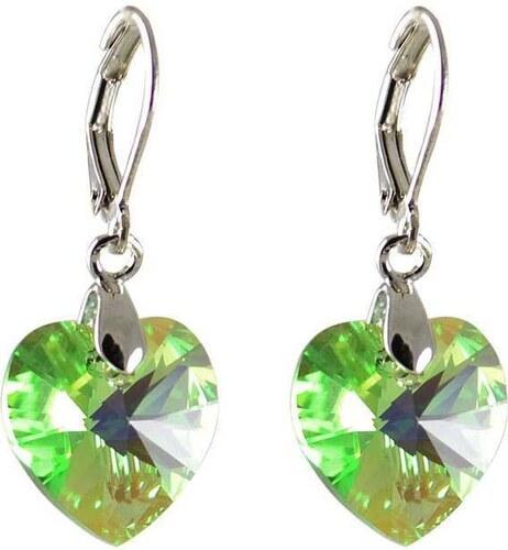 Bijoux Me Náušnice Swarovski Elements Srdce 713akt6228-14-51ab - svetle  zelené 1ba9d4e6d02