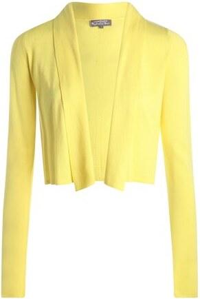 gilet court col ch le uni jaune coton femme taille 4 cache cache. Black Bedroom Furniture Sets. Home Design Ideas