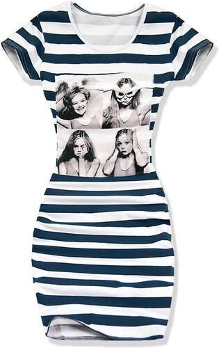 Kleid weiß granat 3871 breite Streifen
