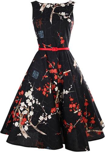 LM moda A Letní šaty s květy černé retro styl + pásek - Glami.cz 3d1baf896f
