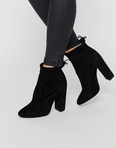 public desire jenna schwarze hinten geschn rte ankle boots mit absatz schwarz. Black Bedroom Furniture Sets. Home Design Ideas