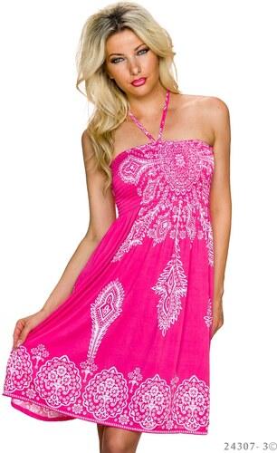Letní šaty se zavazováním za krk - růžovo-bílé - Glami.cz b34f104286
