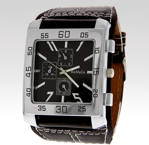 b638b9dfde3 Wayfarer Pánské hodinky Womage hnědé - Glami.cz