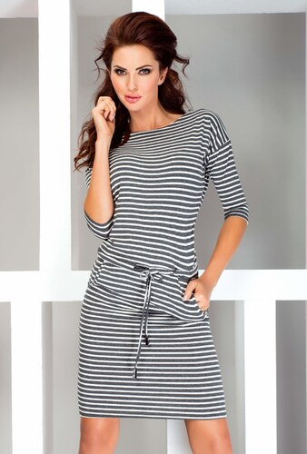 numoco Dámské sportovní šaty netopýří střih s kapsami a na zavazování  pruhované šedé 82e84c5da0