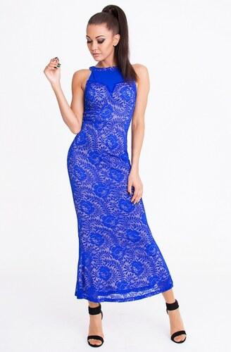 EMAMODA dámské krajkové dlouhé společenské šaty modré - Glami.cz cfe62a1480d