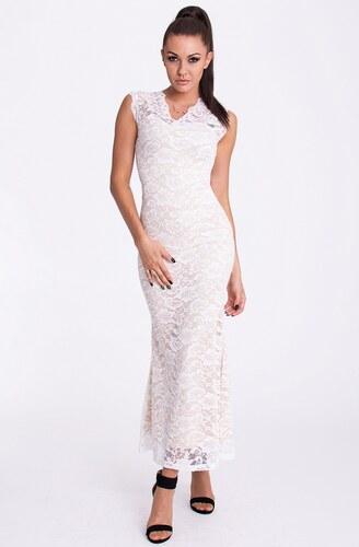 c5859d15e9a EMAMODA dámské dlouhé krajkové šaty bez rukávů s výstřihem do V - bílý krém