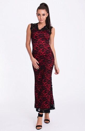 24b56dc3e294 EMAMODA dámské dlouhé krajkové šaty bez rukávů s výstřihem do V - červeno- černé