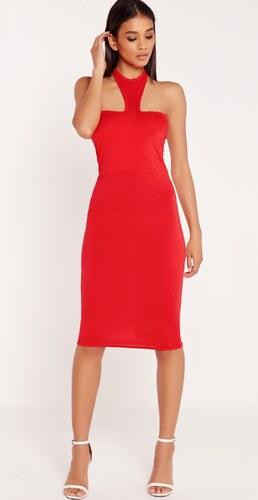 MISSGUIDED Červené midi šaty s obojkovým krkom - Glami.sk fa43b495d12