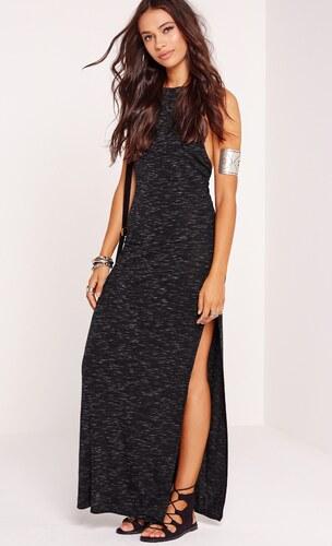 MISSGUIDED Dlhé čierne šaty s odhaleným chrbátom - Glami.sk 4cc103d561a