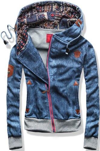 Sweatjacke blau D278 Jeans Motiv