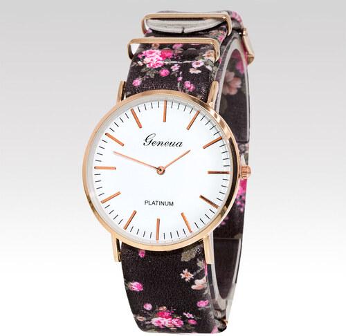 Geneva Dámské hodinky Rose černé - Glami.cz 47324dbacc2