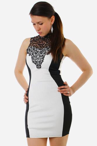2f0703ade40 TopMode Elegantní dámské šaty s krajkou -zeštíhlující efekt (bílá ...