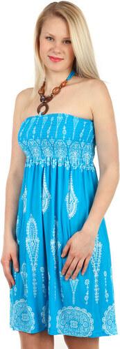 YooY Vzdušné letní šaty s ozdobou (světle modrá 6fe11a6314