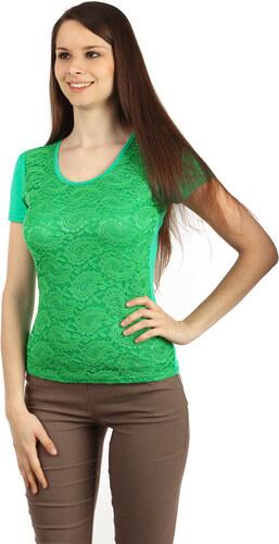 6f2b3378ea04 Glara Elegantné dámske čipkované tričko s krátkym rukávom - Glami.sk