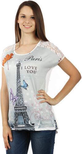 YooY Dámské volné tričko s potiskem Paříž (bílá cc40d70b8b
