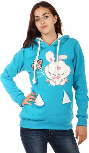 YooY Dámská mikina s obrázkem a ušima na kapuci (modrá 978c40c220