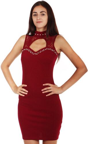 YooY Exkluzivní šaty s krajkou a kamínkovou ozdobou (vínová 5c9199b495b