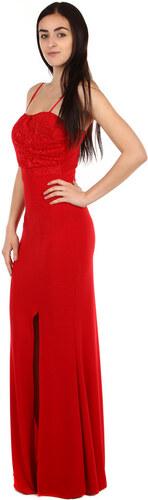 2c886ee2ae9 YooY Elegantní dlouhé šaty s rozparkem červená - Glami.cz
