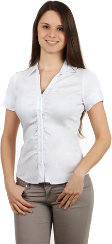 YooY Dámská košile s krátkým rukávem (bílá b4febe348b