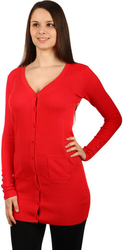 YooY Pohodlný delší svetřík na knoflíky (červená 0afade26b7