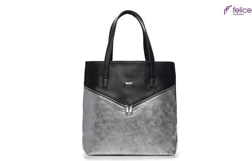 9a5de084d5 Strieborno-čierna kabelka Felice (Verona Due silver) odtiene farieb   strieborná