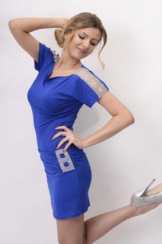 Zdobené šaty s lodičkovým výstřihem barva modrá
