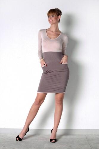Dvoubarevné šaty s kapsičkama a dlouhým rukávem barva béžová kapučíno S 35ba38d812