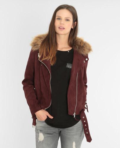 Veste suédine style motard Femme - Couleur rouge - Taille 44 -PIMKIE- LA  MODE FEMME 03e7b6aaad54