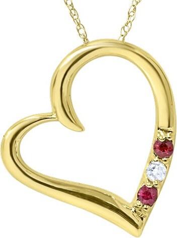 57f7d89bc Eppi Zlatý náhrdelník srdce s rubíny a diamantem Mrittika - Glami.cz