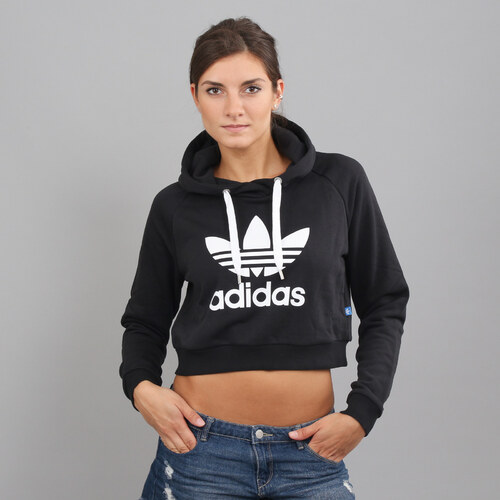 4acc4b27224 adidas Crop Hoodie černá - Glami.cz