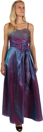 YooY Dlouhé večerní šaty se zlatou výšivkou a květinovou aplikací (fialová ff581e6d70